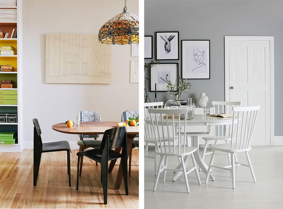 Two dining rooms with extending dining tables, one wooden and another in white, with matching chairs.