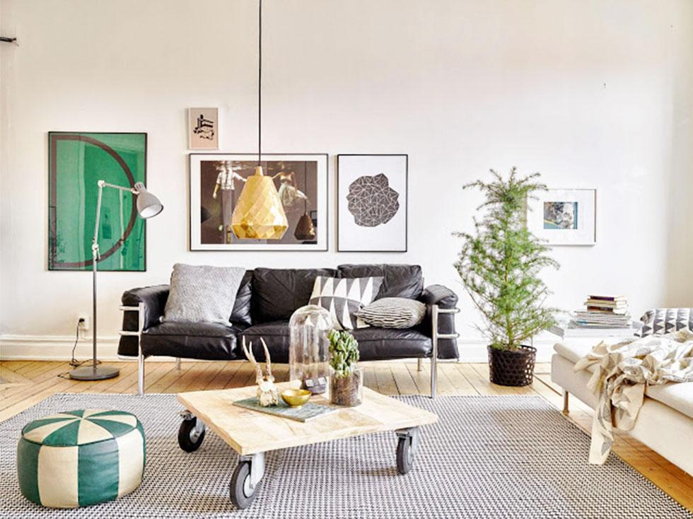 A modern minimal living room with industrial and Scandi influences.