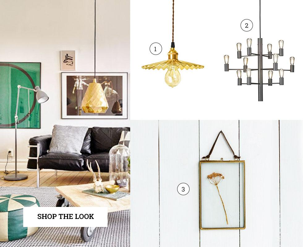 Collection of metallic accessories including lamps and a picture frame.