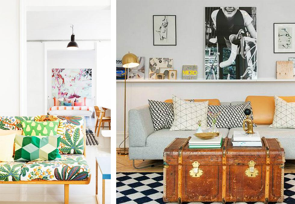 Bright, patterned living rooms