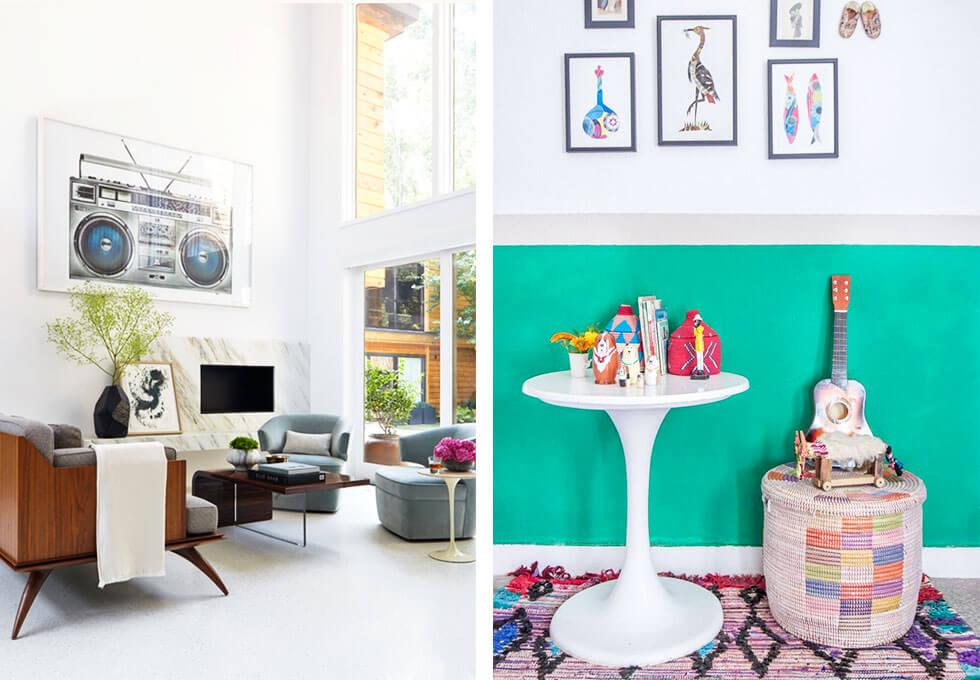 A living room with colourful and quirky elements