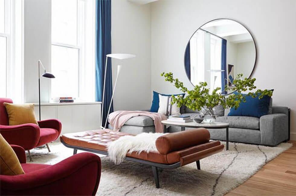 Cosy home interior with rugs and cushions