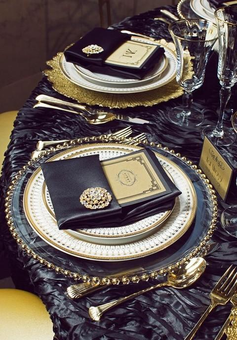 Black and gold table arrangement.