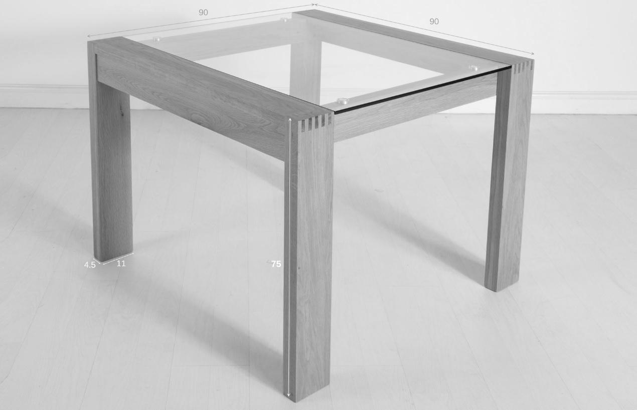 Small glass table with metal legs