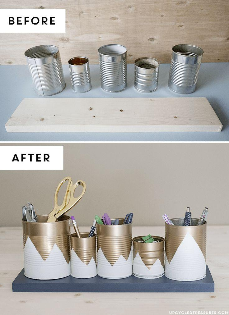 Before and after of DIY tin can project.
