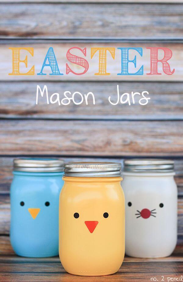 Colourful mason jars.