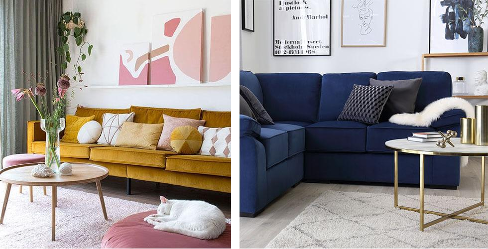 A mustard and navy blue coloured sofa.