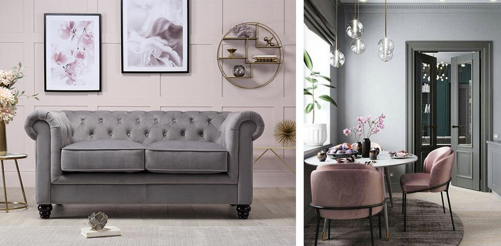 Neutral spaces with grey and dusty pink velvet furniture.