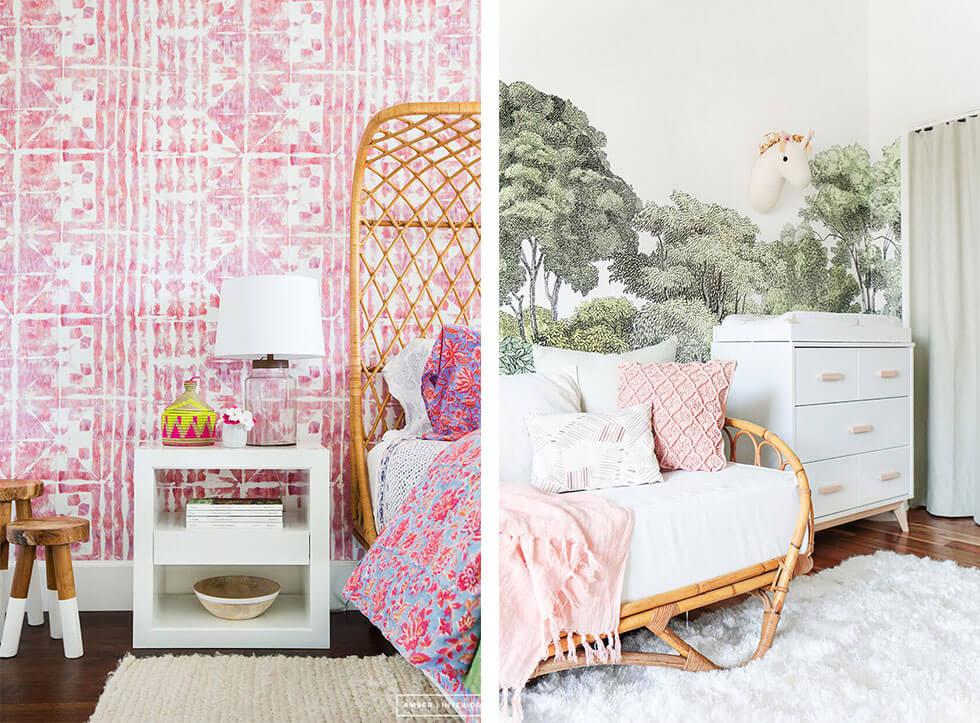 Rattan bed frames or sofas with fluffy rugs and pillows in a girls bedroom