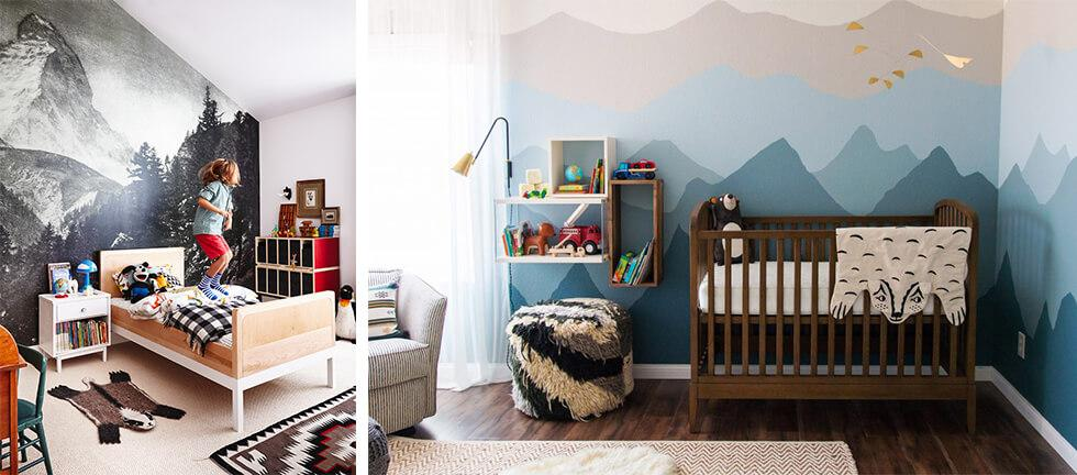 Feature walls in boys bedrooms with mountain murals