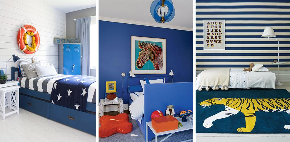Boy bedroom ideas featuring blue nautical inspired prints