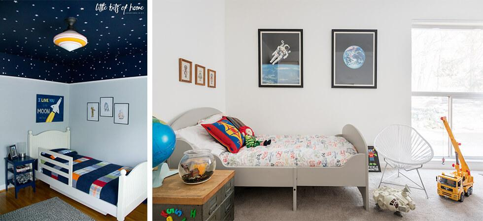 Boys bedroom with space motifs