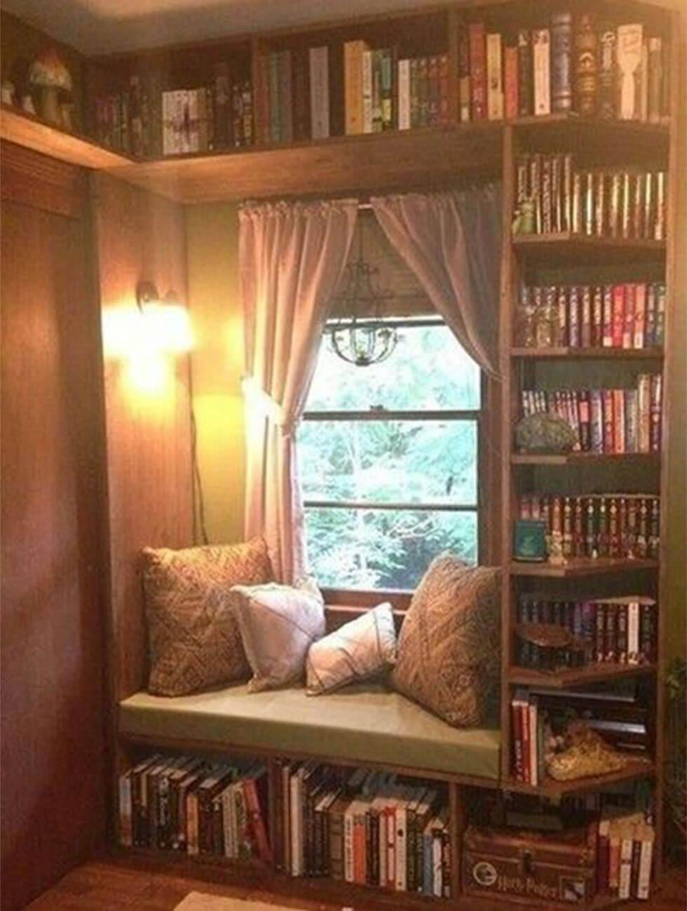 reading nook with bookshelves in walnut tones