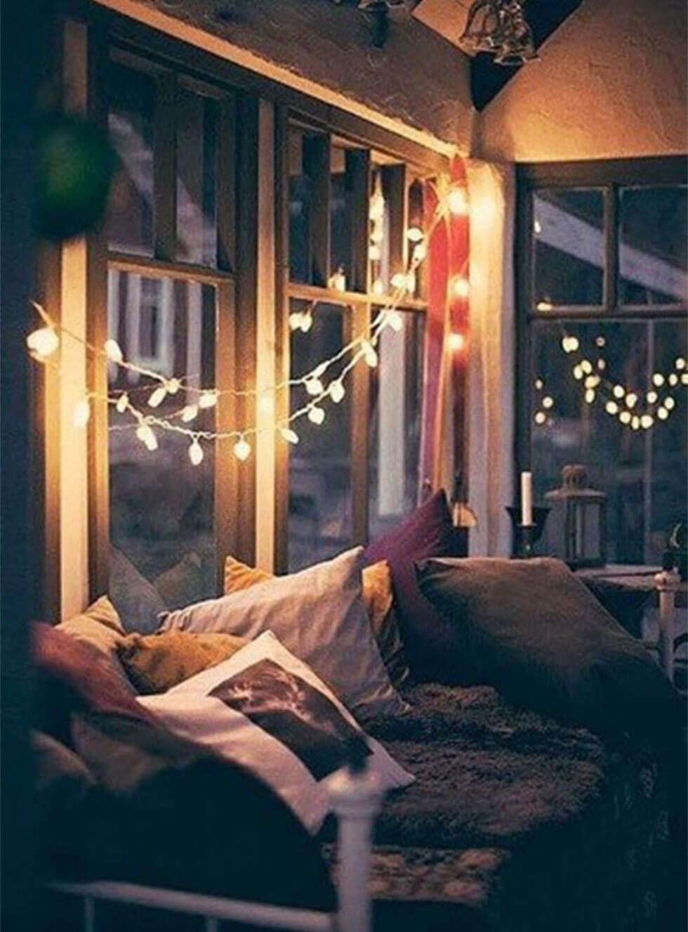 dreamy fairy lights above reading nook