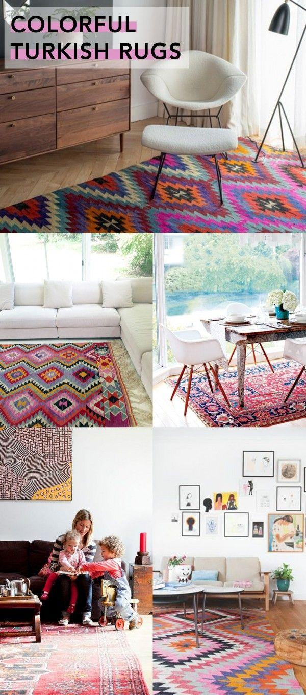 Collage of patterned rugs