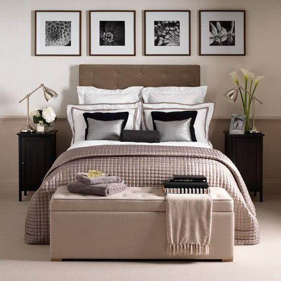 Calming bedroom in shades of grey, mauve, brown and white