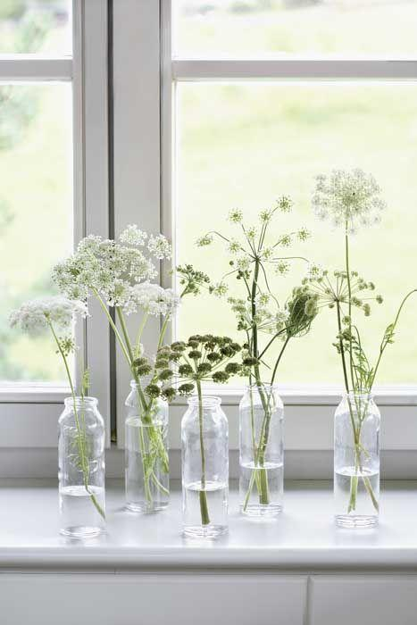 Small white floral arrangements