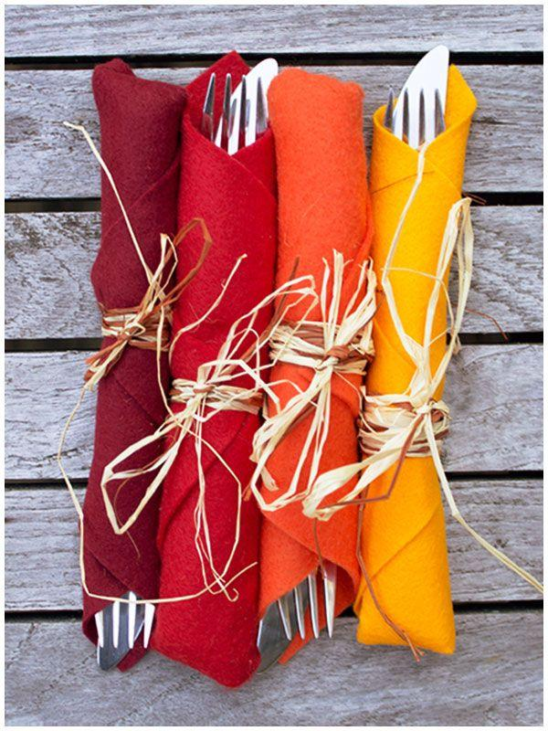 Burgundy, red, orange and yellow napkins.