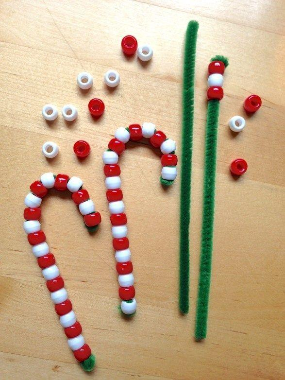 DIY pipe cleaner beaded candy canes