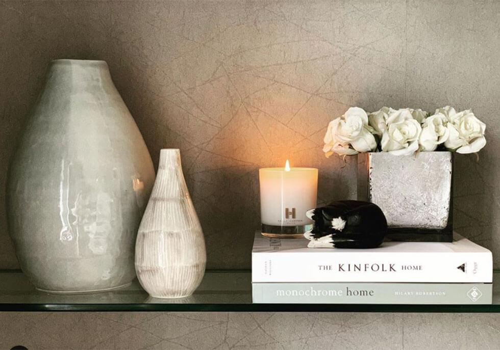 Chic neutral vases, candles and roses