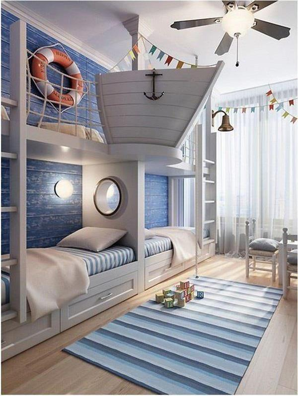 Nautical-themed child's bedroom with bunk beds