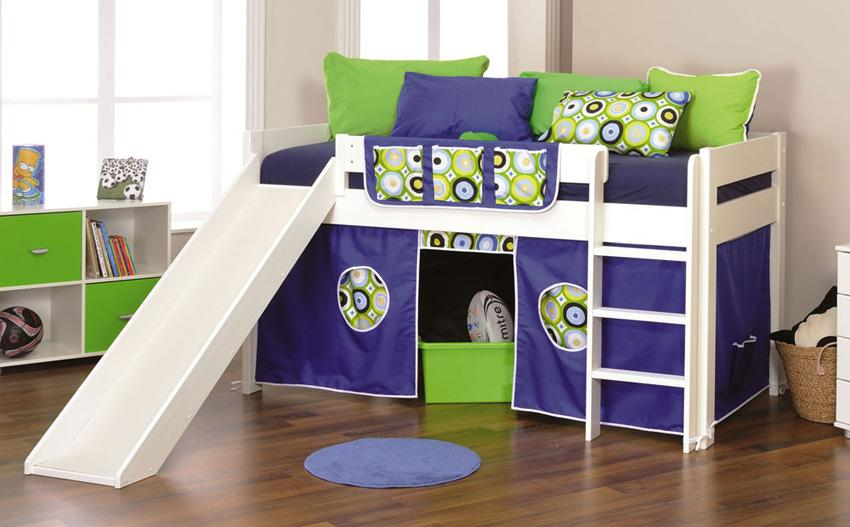 White midi sleeper bed with blue tent and slide