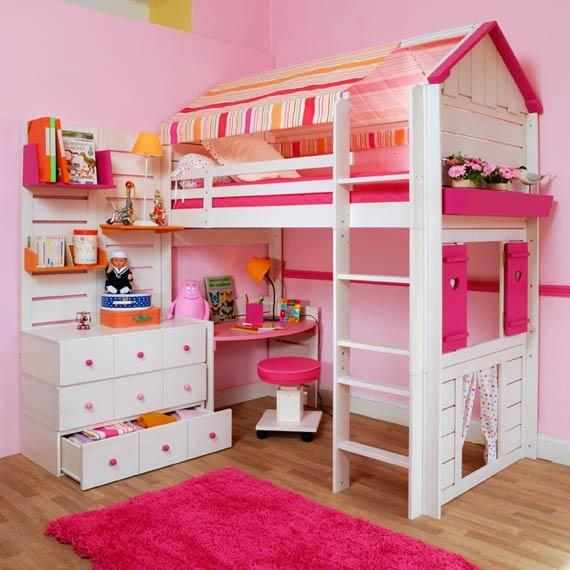 Pink-themed room with bunk bed.