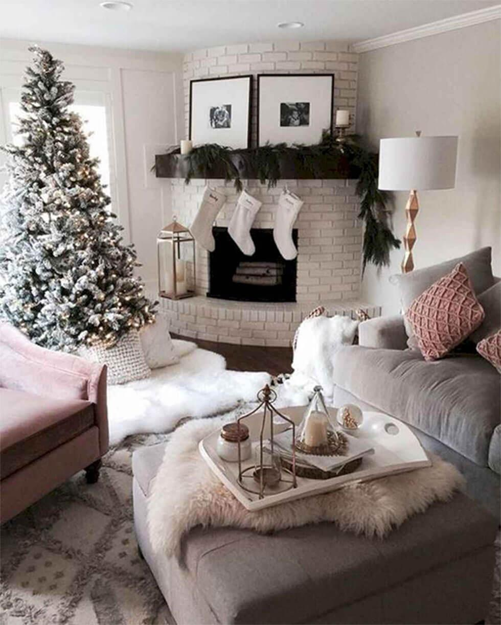 Cosy and luxurious Christmas living room with faux fur and plush fabric materials.