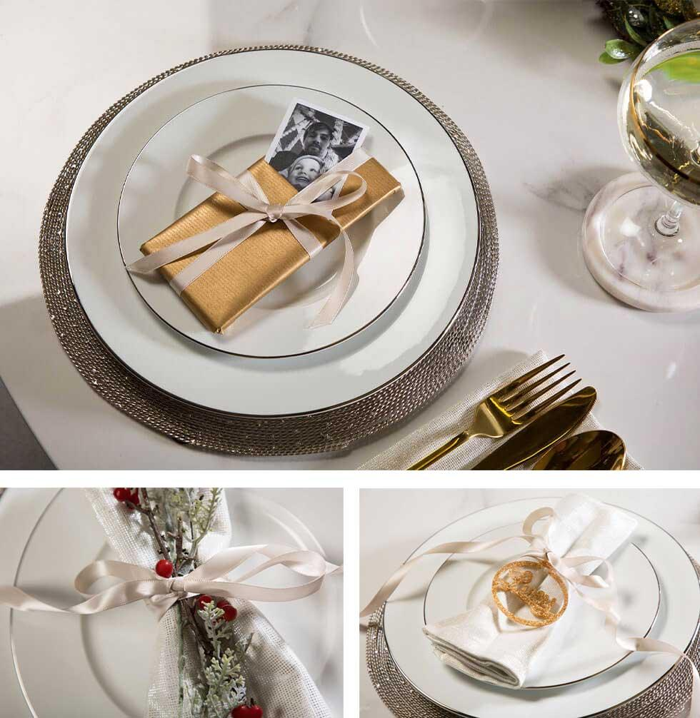Personalised place setting for a luxurious Christmas dinner setting.