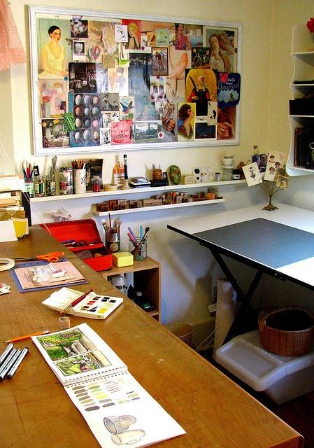 Creative, artsy home office.