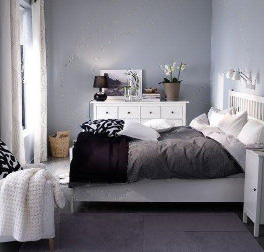 Grey, black and white bedroom