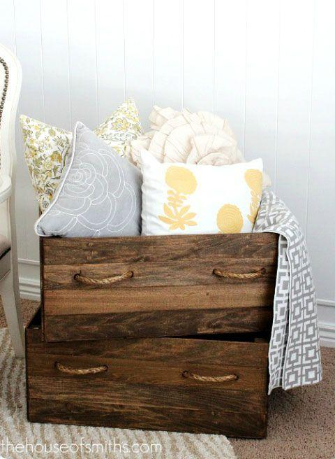 Wooden chest with colourful bedding