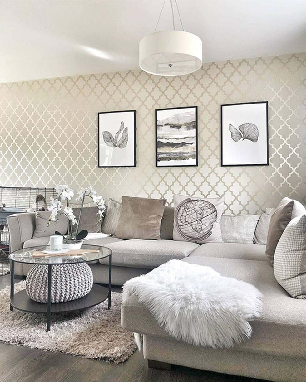 modern chic living room in a neutral palette