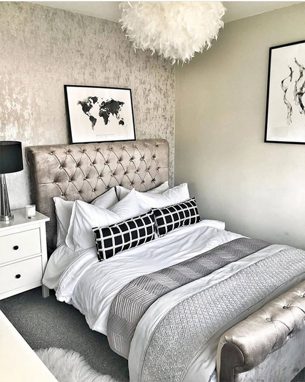 metallic silver painted feature wall in a modern bedroom