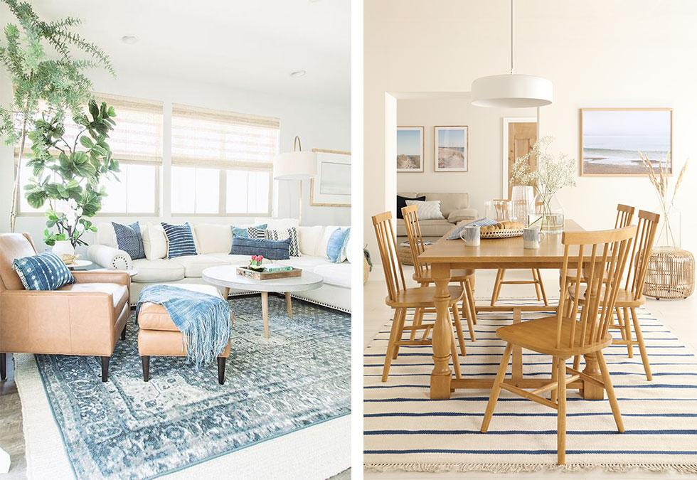 Bright and airy living room with neutral furniture with navy blue cushions, oak dining set with striped rug