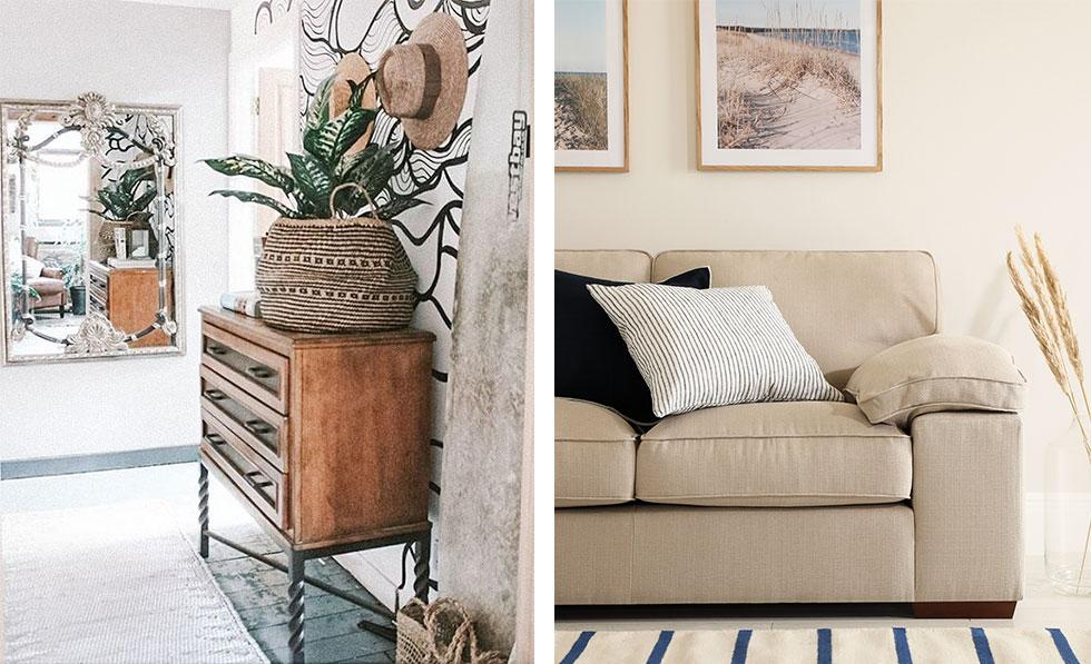 rattan baskets on top of wooden cabinet, linen sofa with cushions and striped rug