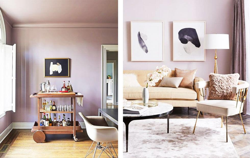 Mauve living areas with beige furniture and wooden bar cart.
