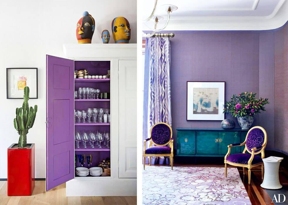 Living rooms with an ultra violet furniture and matching walls.