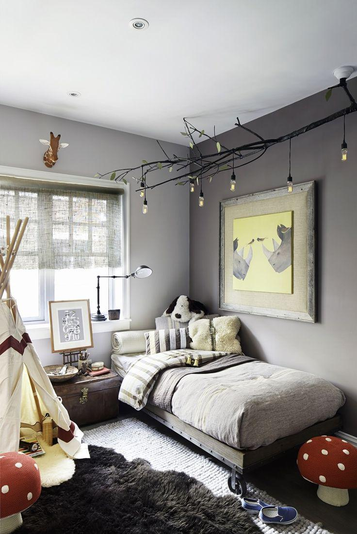 Grey bedroom with a white teepee.