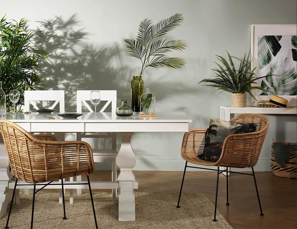 Tropical dining room with rattan chairs and indoor plants