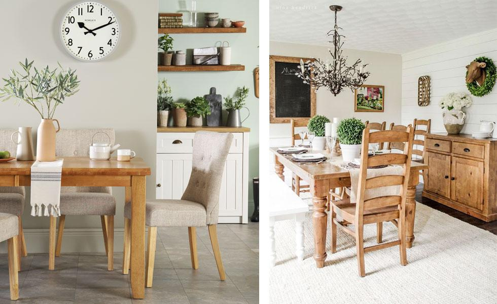 Collage of wooden dining sets with assorted chairs.