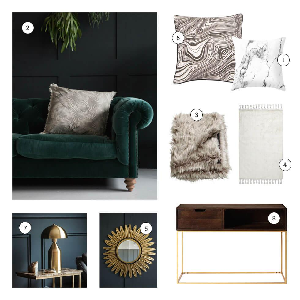 Collage of texture-inspired home decor.
