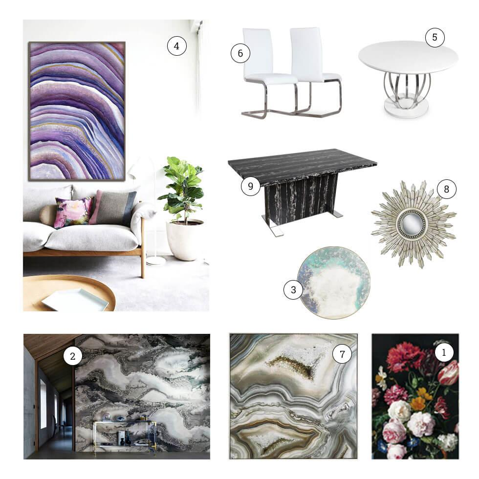 Collage of texture-inspired home furniture and decor.