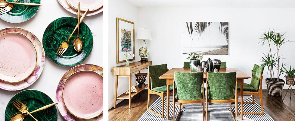 Series of pink and green home accessories.