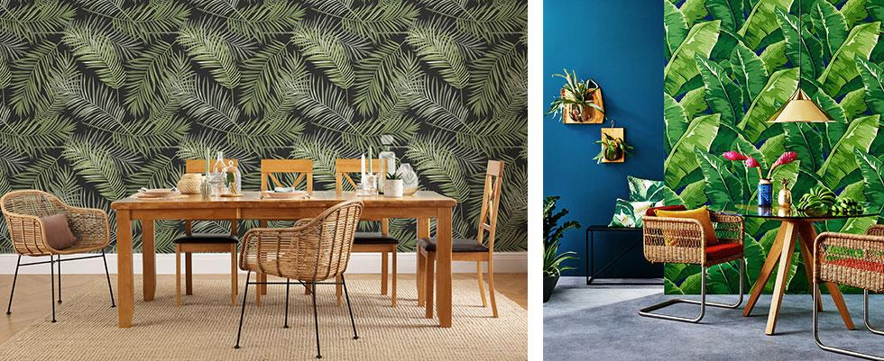 Interiors with bold wallpaper.