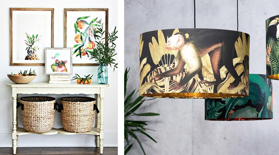 Collage of boldly printed wall art and lamps.