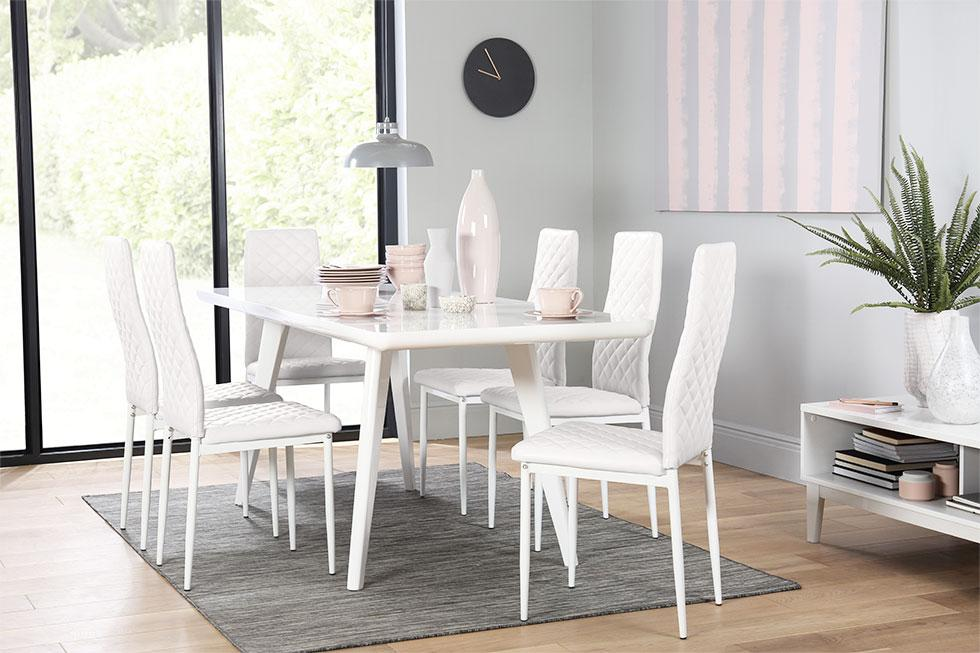 All white dining set.