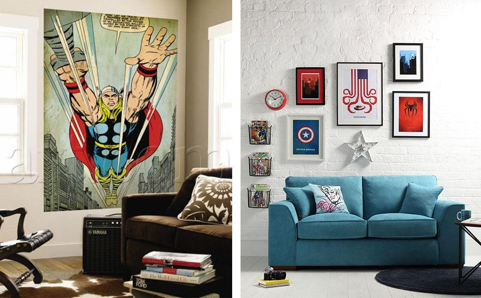 Collage of superhero-themed living rooms.