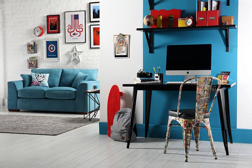 A white and blue superhero-inspired living room and study.