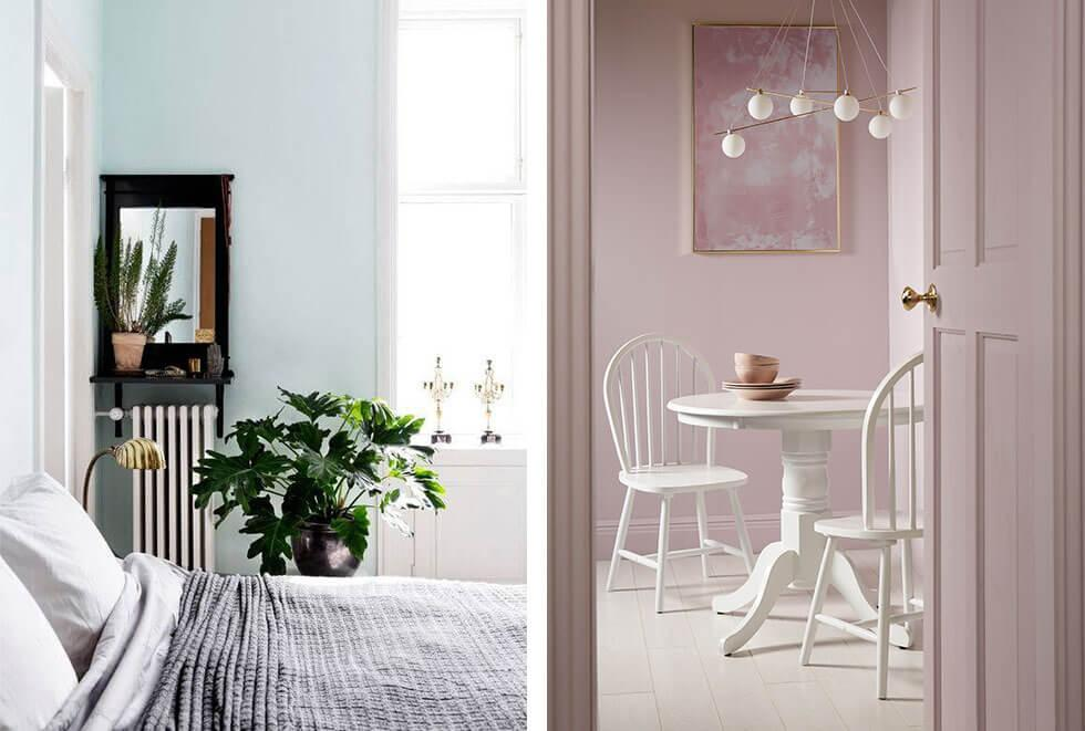 Light blue bedroom and a dreamy mauve dining room.